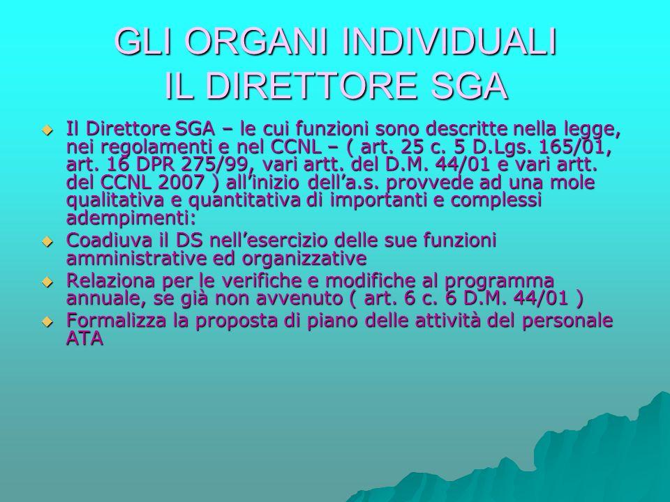 GLI ORGANI INDIVIDUALI IL DIRETTORE SGA  Il Direttore SGA – le cui funzioni sono descritte nella legge, nei regolamenti e nel CCNL – ( art.