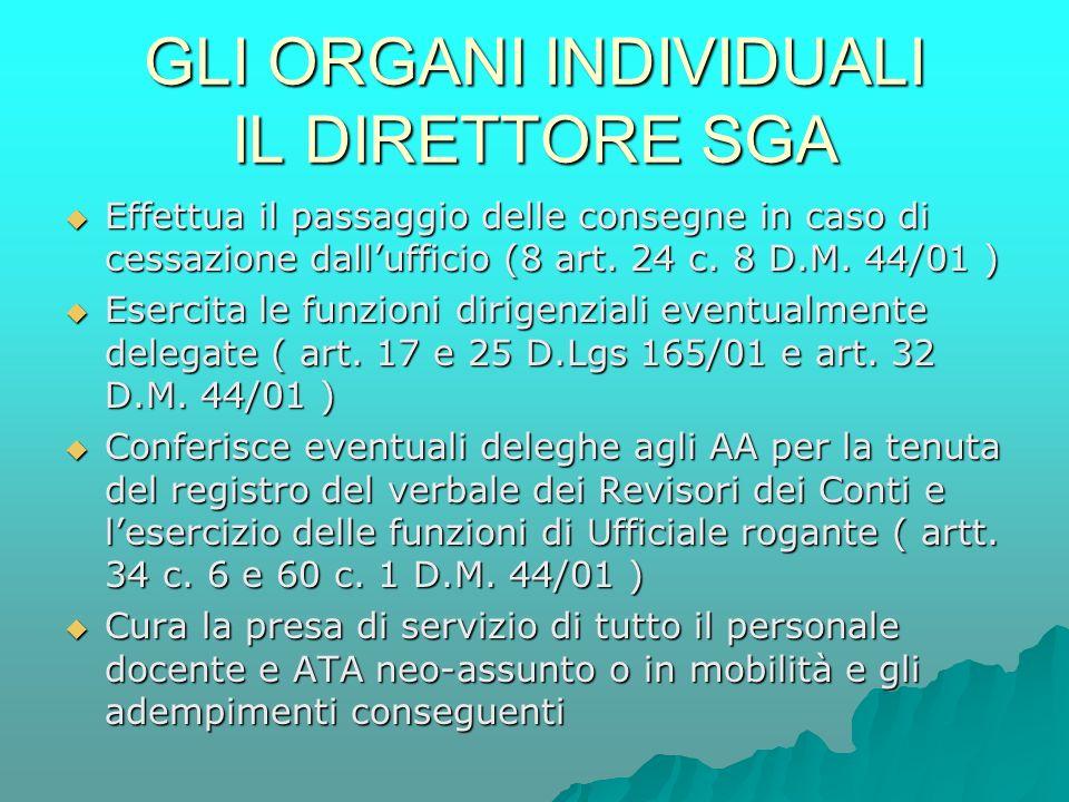 GLI ORGANI INDIVIDUALI IL DIRETTORE SGA  Effettua il passaggio delle consegne in caso di cessazione dall'ufficio (8 art.