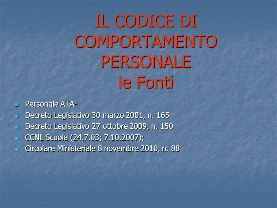 IL CODICE DI COMPORTAMENTO PERSONALE le Fonti Personale ATA- Personale ATA- Decreto Legislativo 30 marzo 2001, n.