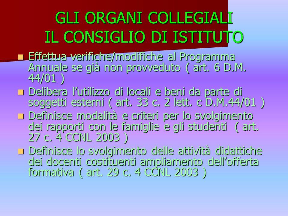 GLI ORGANI COLLEGIALI IL CONSIGLIO DI ISTITUTO Effettua verifiche/modifiche al Programma Annuale se già non provveduto ( art.