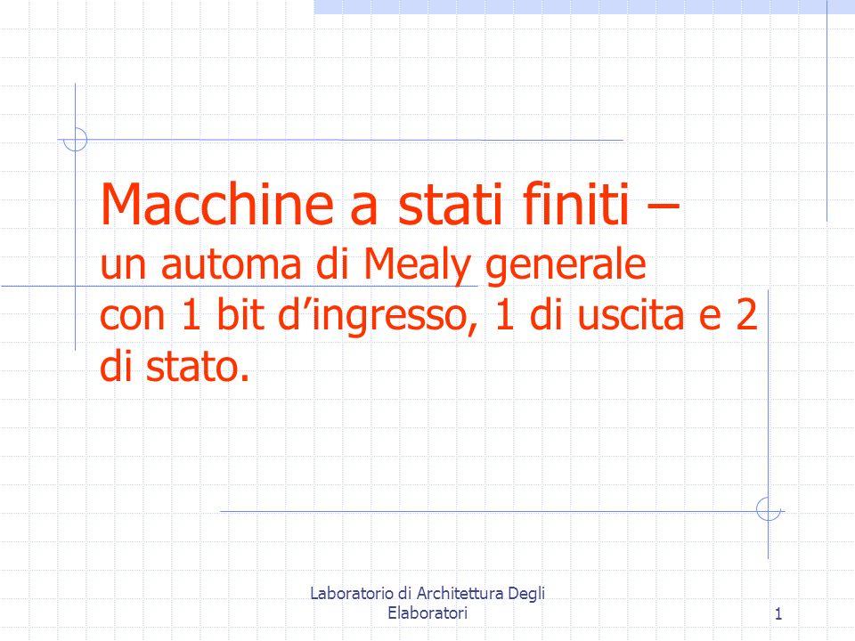 Laboratorio di Architettura Degli Elaboratori1 Macchine a stati finiti – un automa di Mealy generale con 1 bit d'ingresso, 1 di uscita e 2 di stato.