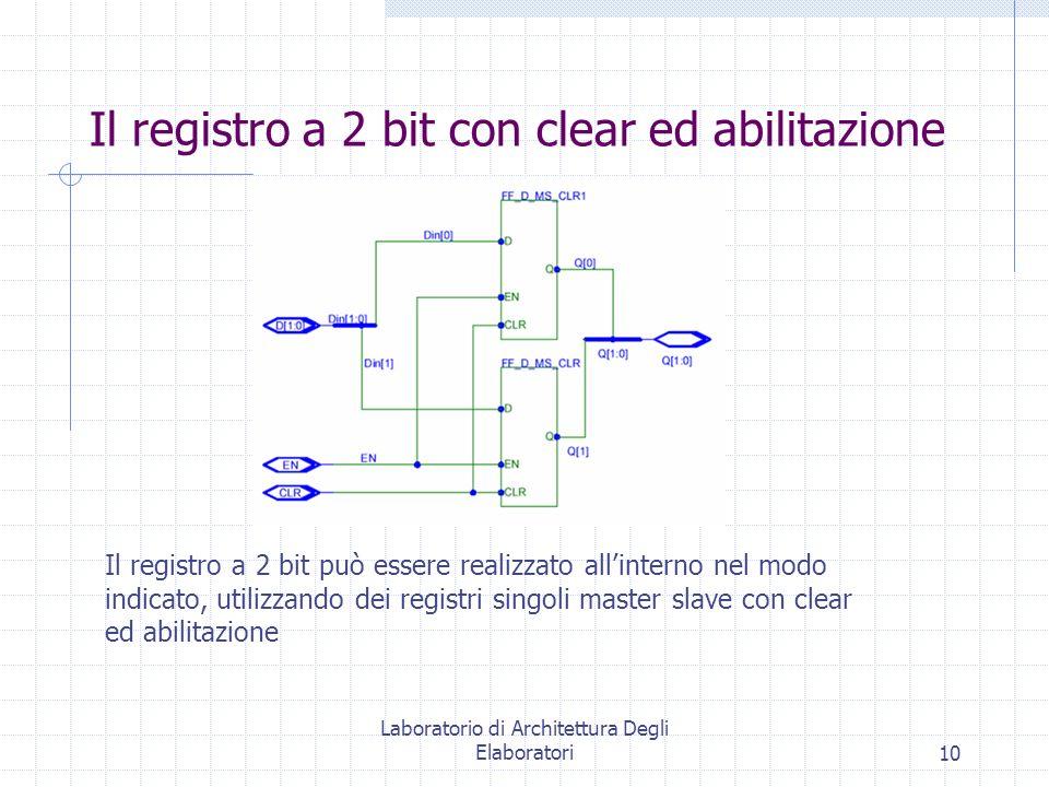 Laboratorio di Architettura Degli Elaboratori10 Il registro a 2 bit con clear ed abilitazione Il registro a 2 bit può essere realizzato all'interno nel modo indicato, utilizzando dei registri singoli master slave con clear ed abilitazione