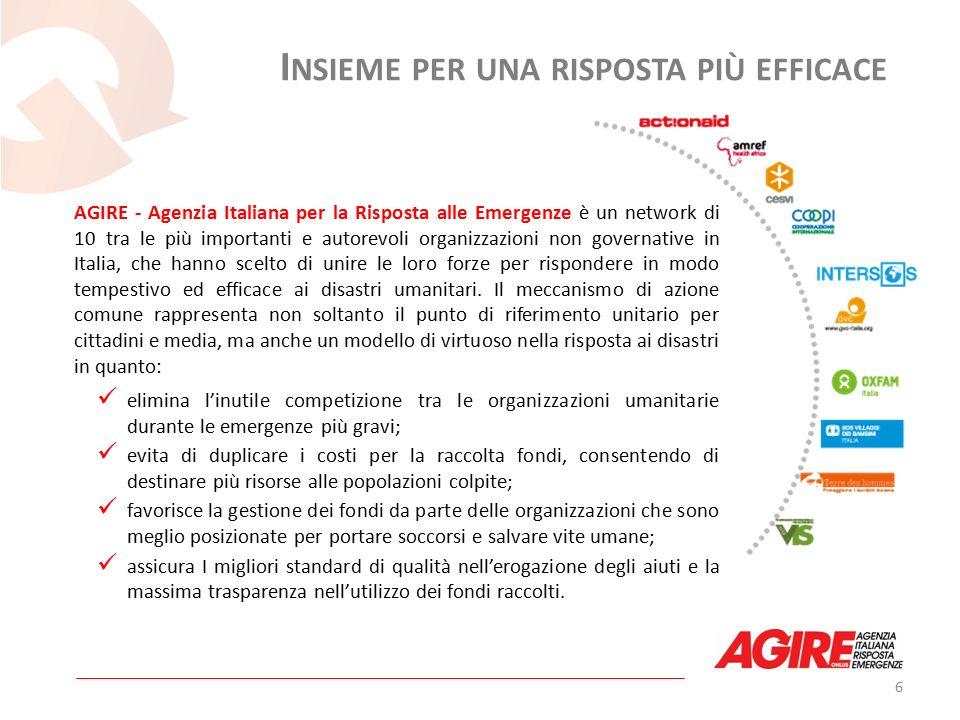 AGIRE - Agenzia Italiana per la Risposta alle Emergenze è un network di 10 tra le più importanti e autorevoli organizzazioni non governative in Italia, che hanno scelto di unire le loro forze per rispondere in modo tempestivo ed efficace ai disastri umanitari.