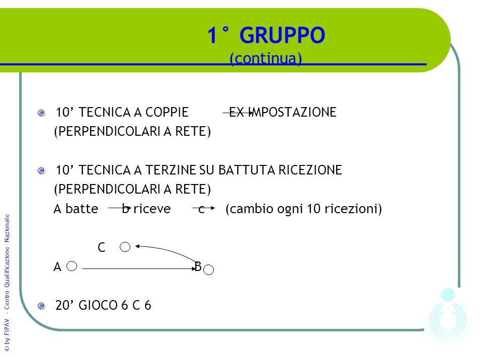 © by FIPAV - Centro Qualificazione Nazionale 1° GRUPPO (continua) 10' TECNICA A COPPIE EX IMPOSTAZIONE (PERPENDICOLARI A RETE) 10' TECNICA A TERZINE S