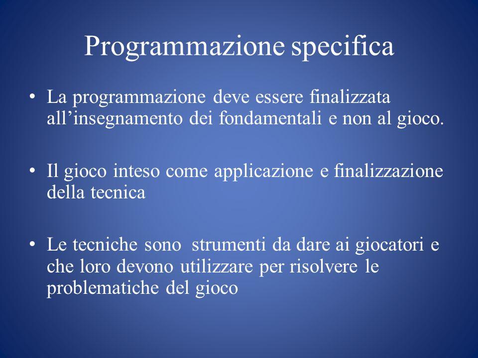 Programmazione specifica La programmazione deve essere finalizzata all'insegnamento dei fondamentali e non al gioco. Il gioco inteso come applicazione