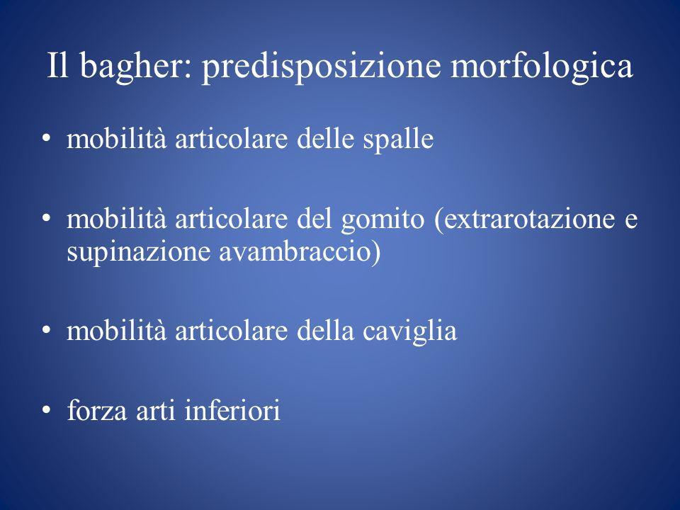 Il bagher: predisposizione morfologica mobilità articolare delle spalle mobilità articolare del gomito (extrarotazione e supinazione avambraccio) mobilità articolare della caviglia forza arti inferiori
