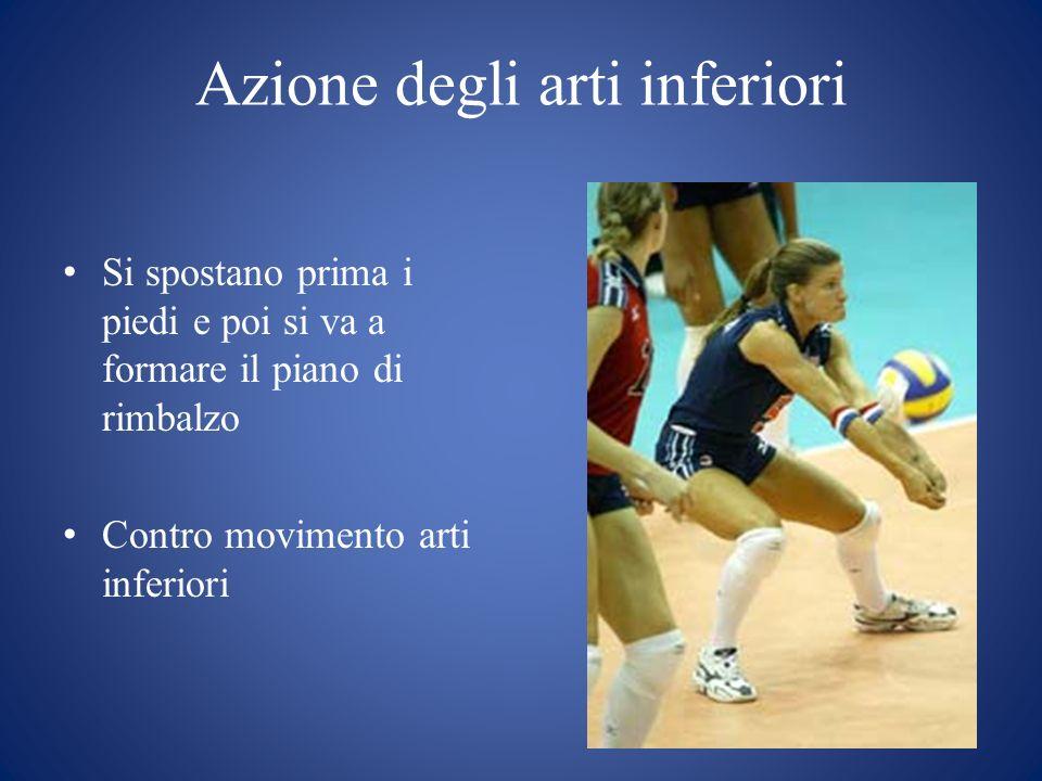 Azione degli arti inferiori Si spostano prima i piedi e poi si va a formare il piano di rimbalzo Contro movimento arti inferiori