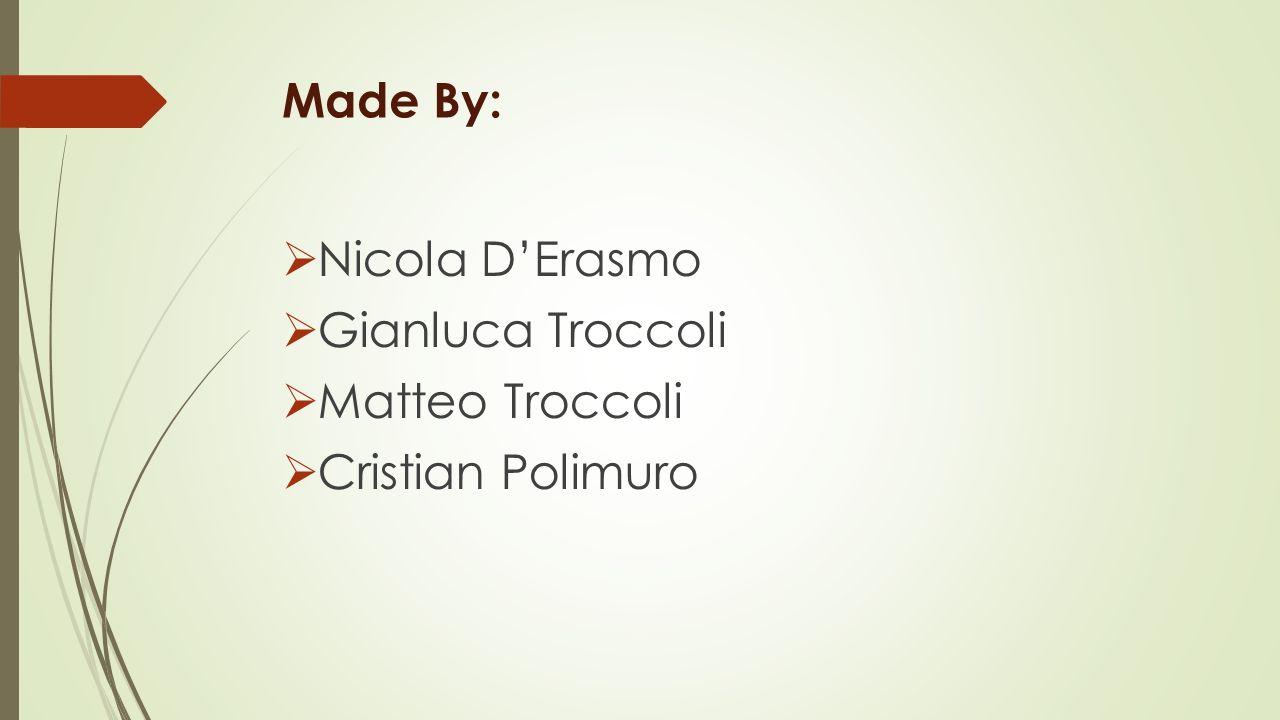 Made By:  Nicola D'Erasmo  Gianluca Troccoli  Matteo Troccoli  Cristian Polimuro