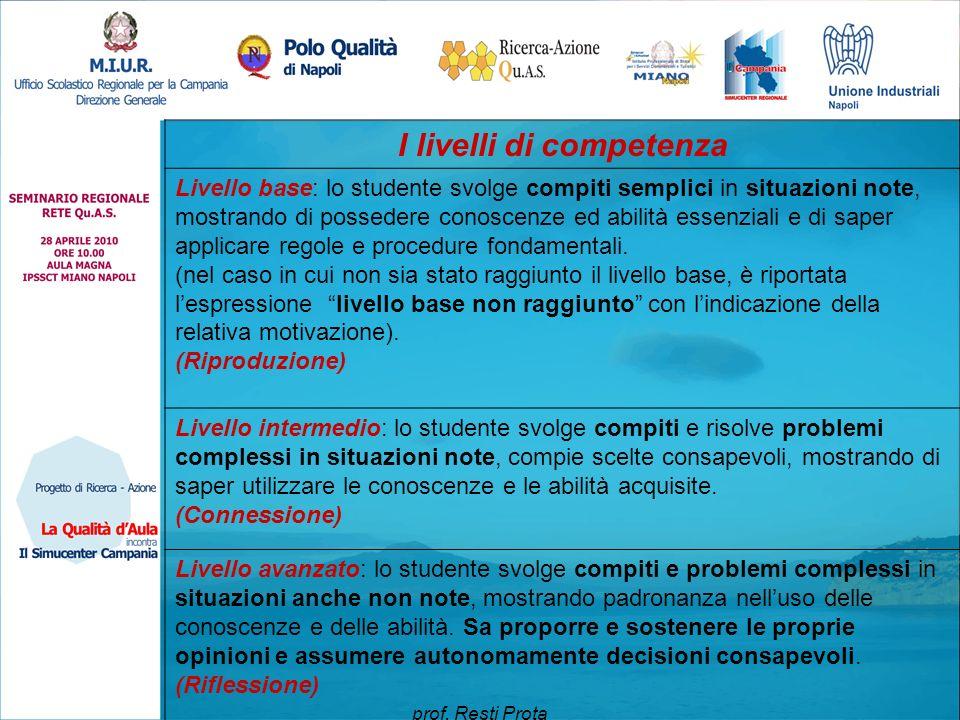 I livelli di competenza Livello base: lo studente svolge compiti semplici in situazioni note, mostrando di possedere conoscenze ed abilità essenziali