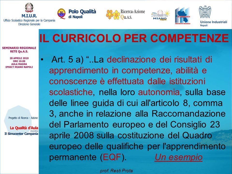 """IL CURRICOLO PER COMPETENZE Art. 5 a) """"..La declinazione dei risultati di apprendimento in competenze, abilità e conoscenze è effettuata dalle istituz"""