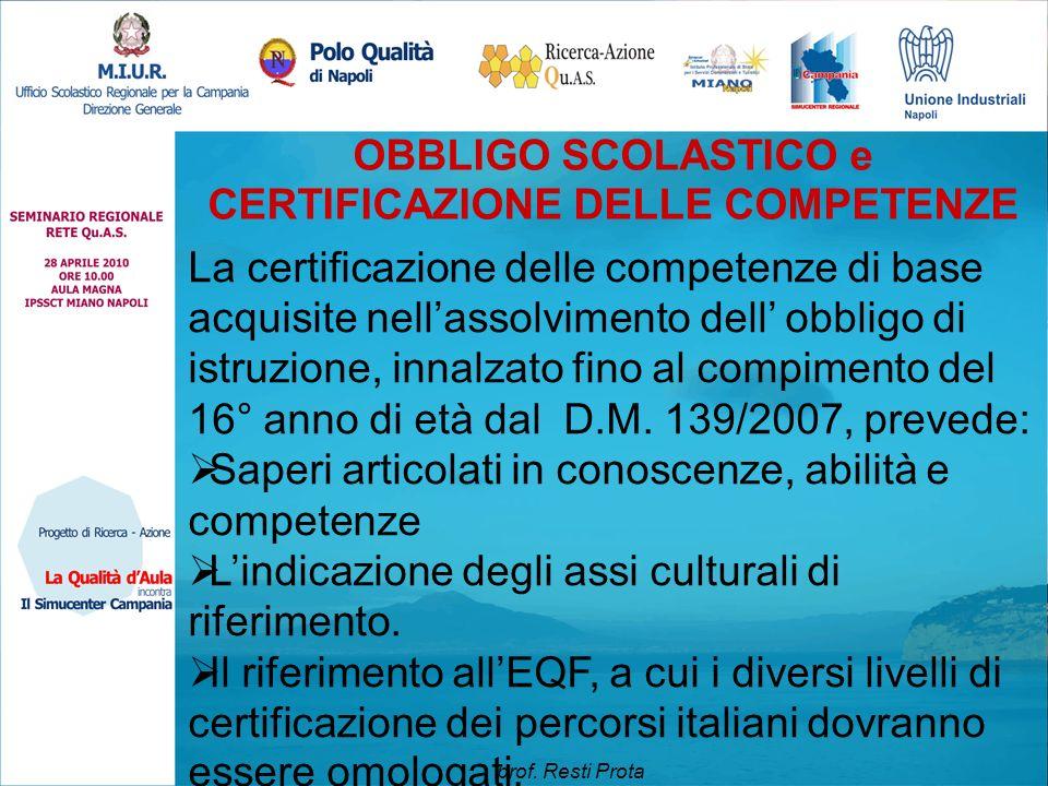 OBBLIGO SCOLASTICO e CERTIFICAZIONE DELLE COMPETENZE La certificazione delle competenze di base acquisite nell'assolvimento dell' obbligo di istruzion