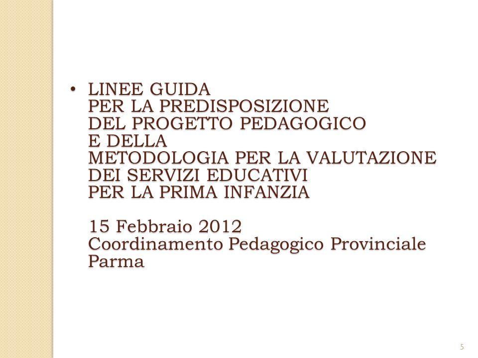 5 LINEE GUIDA PER LA PREDISPOSIZIONE DEL PROGETTO PEDAGOGICO E DELLA METODOLOGIA PER LA VALUTAZIONE DEI SERVIZI EDUCATIVI PER LA PRIMA INFANZIA 15 Febbraio 2012 Coordinamento Pedagogico Provinciale Parma LINEE GUIDA PER LA PREDISPOSIZIONE DEL PROGETTO PEDAGOGICO E DELLA METODOLOGIA PER LA VALUTAZIONE DEI SERVIZI EDUCATIVI PER LA PRIMA INFANZIA 15 Febbraio 2012 Coordinamento Pedagogico Provinciale Parma