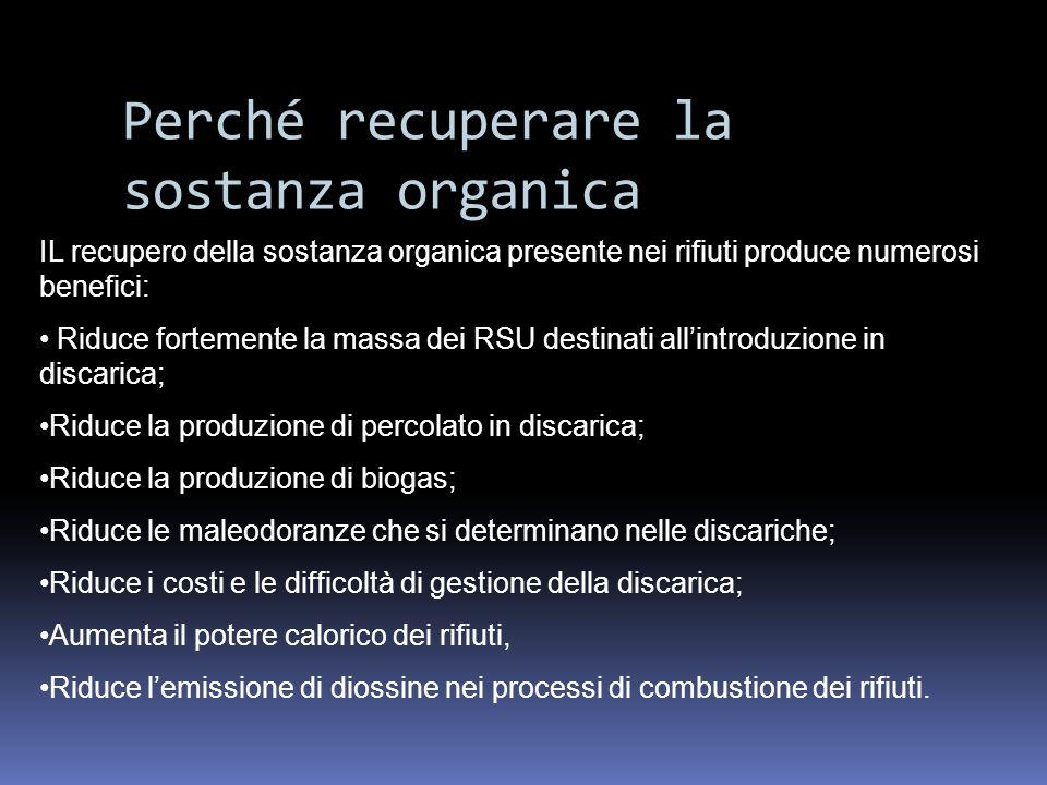 Perché recuperare la sostanza organica IL recupero della sostanza organica presente nei rifiuti produce numerosi benefici: Riduce fortemente la massa