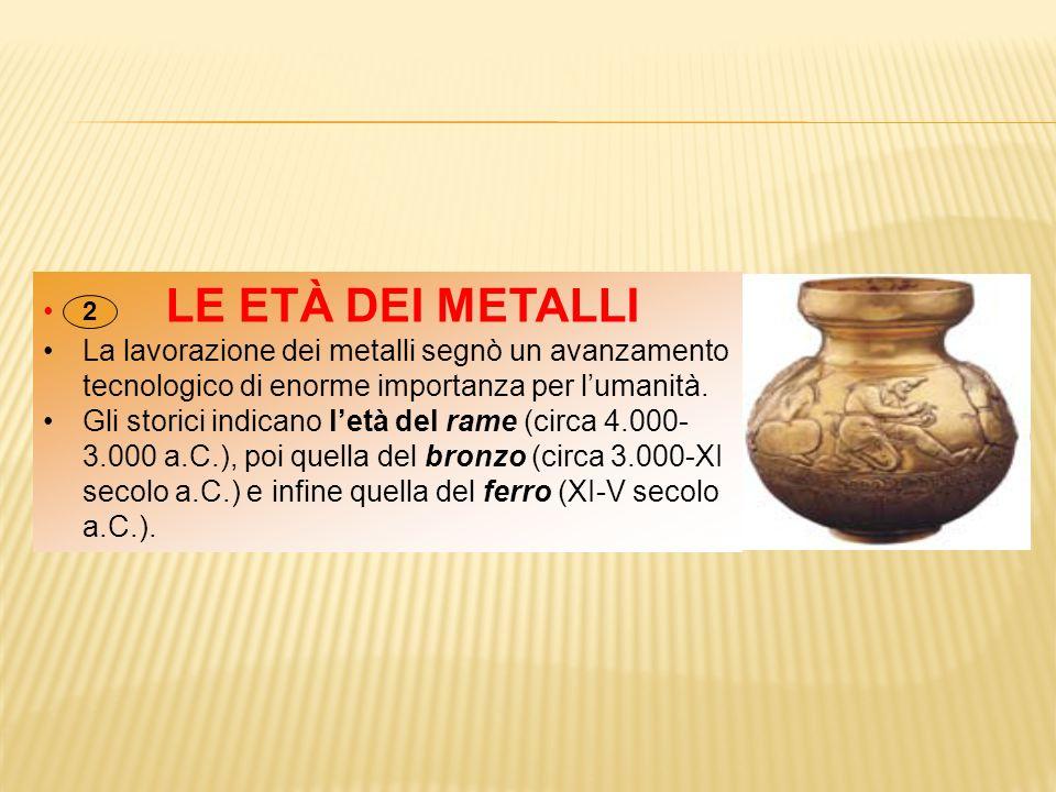LE ETÀ DEI METALLI La lavorazione dei metalli segnò un avanzamento tecnologico di enorme importanza per l'umanità. Gli storici indicano l'età del rame
