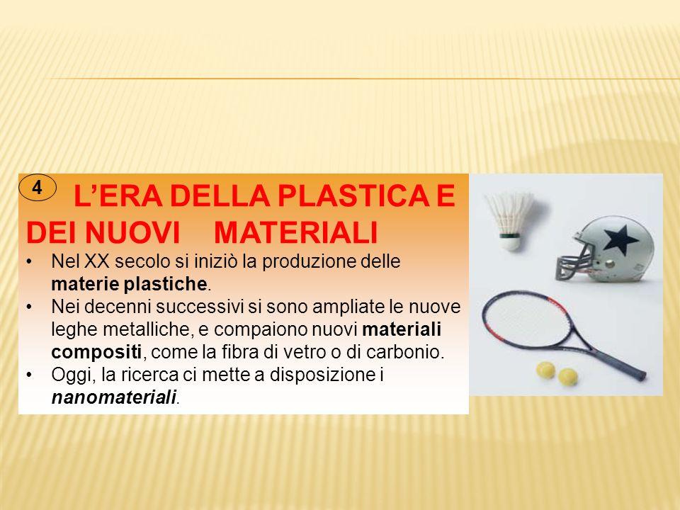 L'ERA DELLA PLASTICA E DEI NUOVI MATERIALI Nel XX secolo si iniziò la produzione delle materie plastiche. Nei decenni successivi si sono ampliate le n