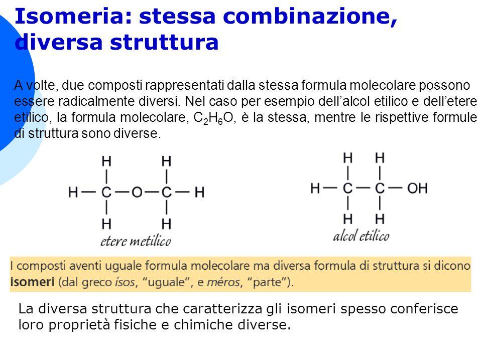 Isomeria: stessa combinazione, diversa struttura A volte, due composti rappresentati dalla stessa formula molecolare possono essere radicalmente diversi.
