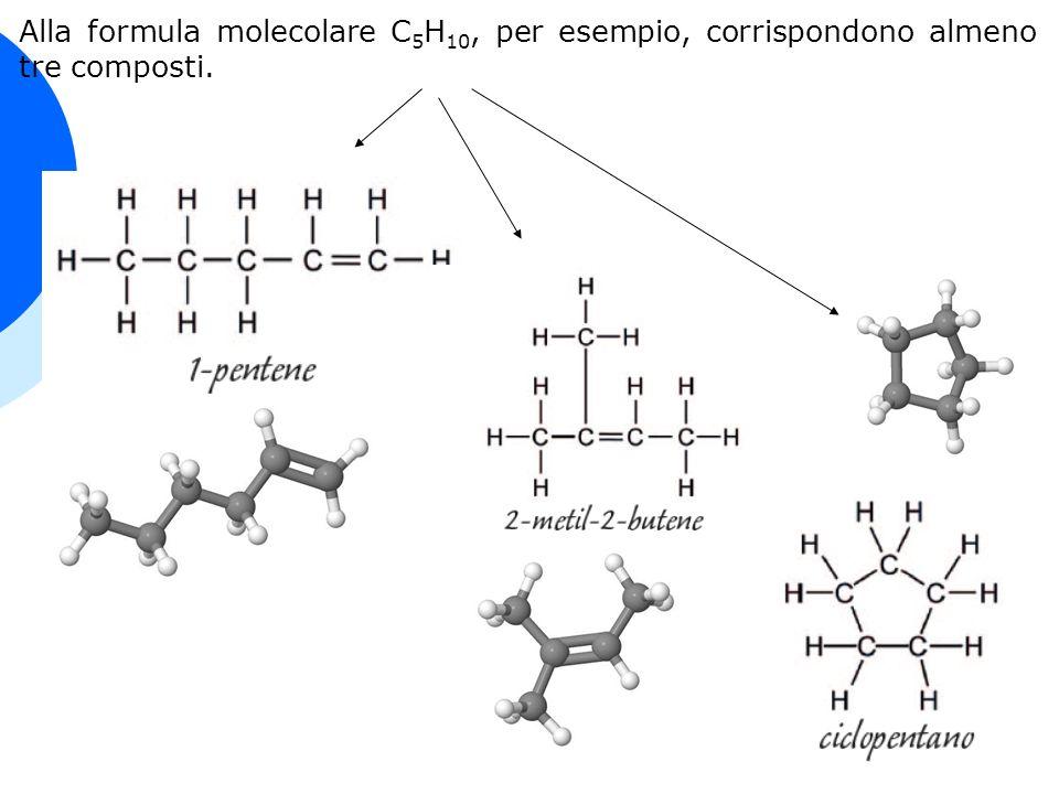Alla formula molecolare C 5 H 10, per esempio, corrispondono almeno tre composti.