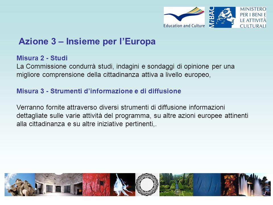 Azione 3 – Insieme per l'Europa Misura 2 - Studi La Commissione condurrà studi, indagini e sondaggi di opinione per una migliore comprensione della ci