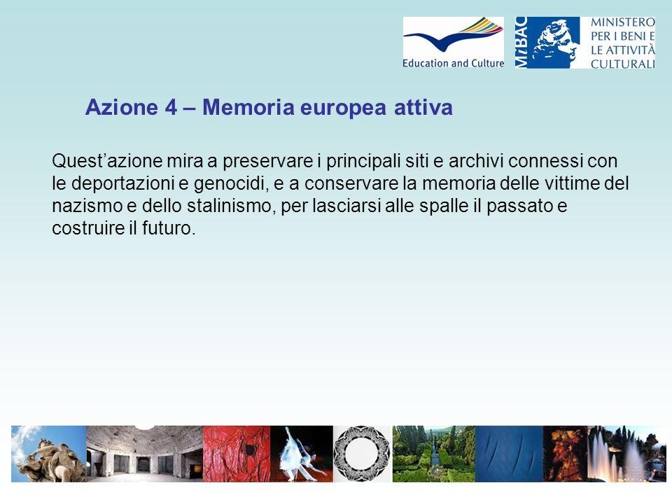 Azione 4 – Memoria europea attiva Quest'azione mira a preservare i principali siti e archivi connessi con le deportazioni e genocidi, e a conservare la memoria delle vittime del nazismo e dello stalinismo, per lasciarsi alle spalle il passato e costruire il futuro.