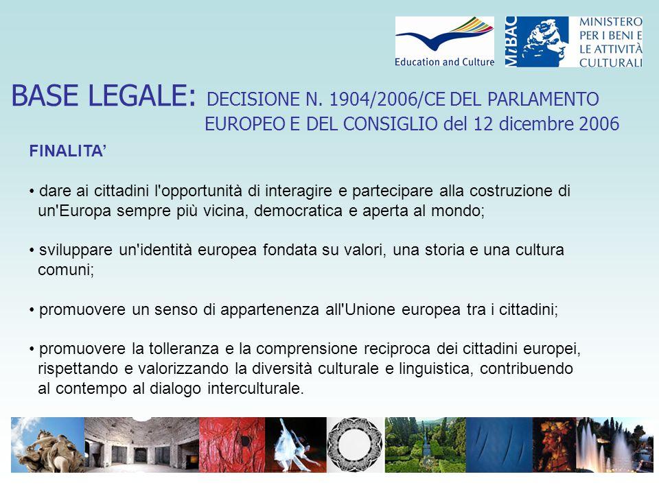 BASE LEGALE: DECISIONE N. 1904/2006/CE DEL PARLAMENTO EUROPEO E DEL CONSIGLIO del 12 dicembre 2006 FINALITA' dare ai cittadini l'opportunità di intera