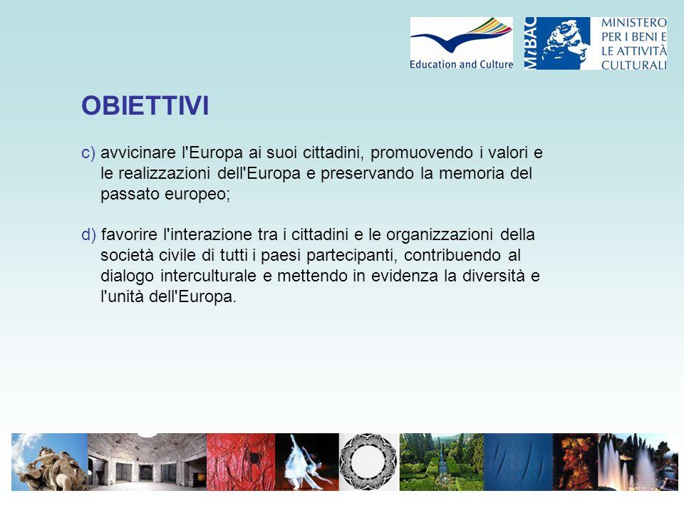 OBIETTIVI c) avvicinare l'Europa ai suoi cittadini, promuovendo i valori e le realizzazioni dell'Europa e preservando la memoria del passato europeo;