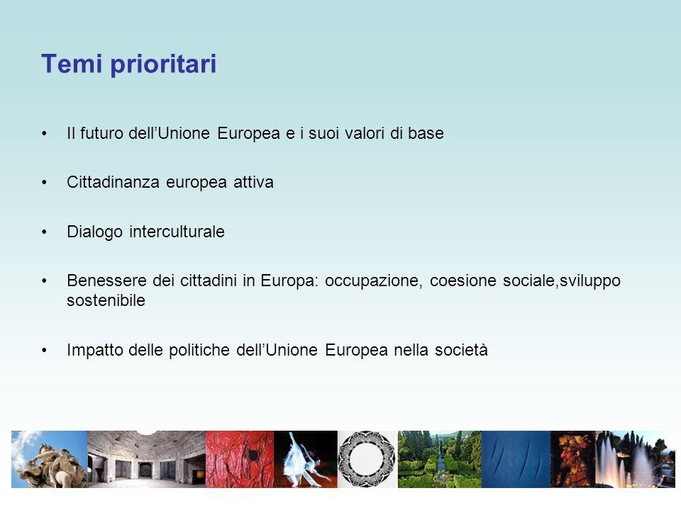 Temi prioritari Il futuro dell'Unione Europea e i suoi valori di base Cittadinanza europea attiva Dialogo interculturale Benessere dei cittadini in Europa: occupazione, coesione sociale,sviluppo sostenibile Impatto delle politiche dell'Unione Europea nella società