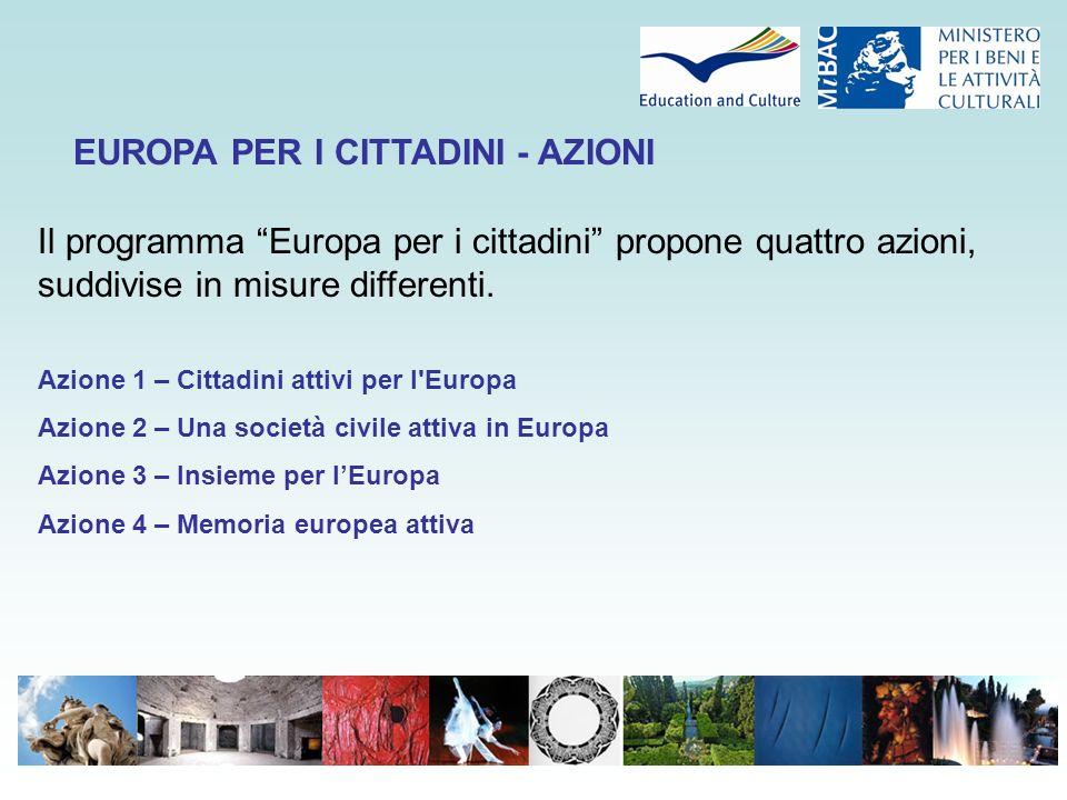 Il programma Europa per i cittadini propone quattro azioni, suddivise in misure differenti.