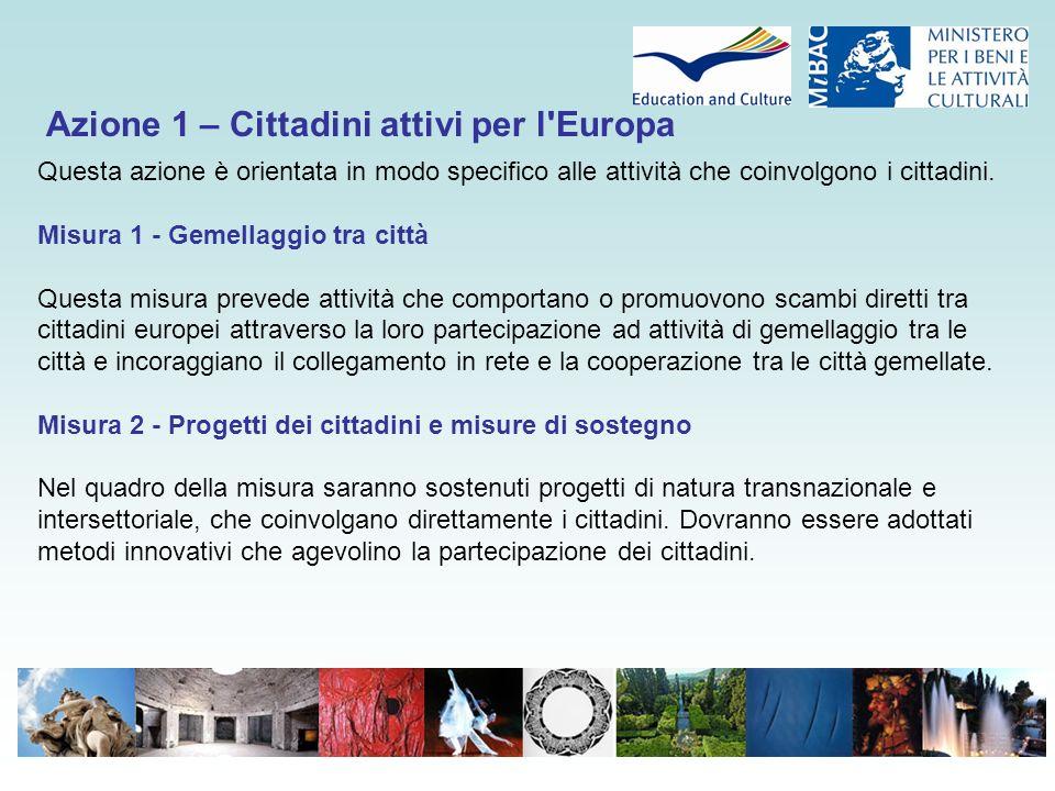 Azione 1 – Cittadini attivi per l'Europa Questa azione è orientata in modo specifico alle attività che coinvolgono i cittadini. Misura 1 - Gemellaggio