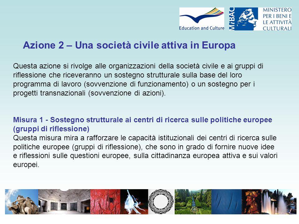 Azione 2 – Una società civile attiva in Europa Questa azione si rivolge alle organizzazioni della società civile e ai gruppi di riflessione che riceveranno un sostegno strutturale sulla base del loro programma di lavoro (sovvenzione di funzionamento) o un sostegno per i progetti transnazionali (sovvenzione di azioni).