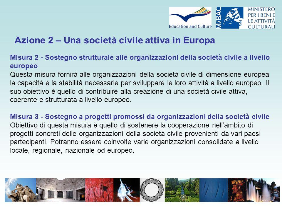 Azione 3 – Insieme per l'Europa Questa azione mira ad approfondire il concetto di cittadinanza europea attiva nonché a promuovere la sua comprensione in tutta Europa, contribuendo a rendere l'Europa più tangibile per i cittadini mediante la realizzazione delle tre misure descritte qui di seguito.