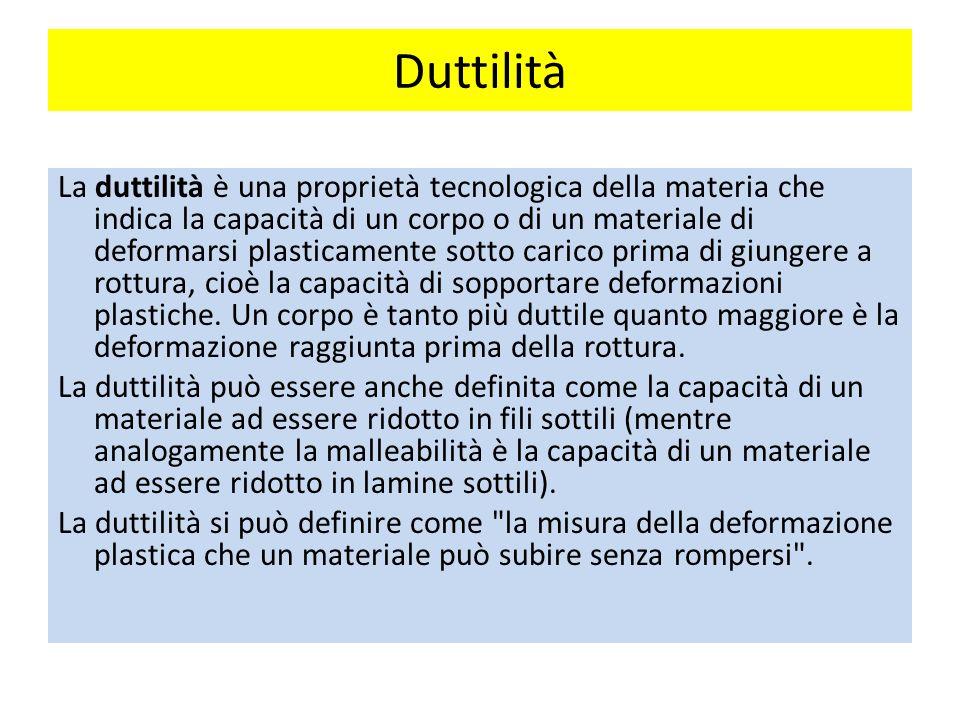 Duttilità La duttilità è una proprietà tecnologica della materia che indica la capacità di un corpo o di un materiale di deformarsi plasticamente sotto carico prima di giungere a rottura, cioè la capacità di sopportare deformazioni plastiche.