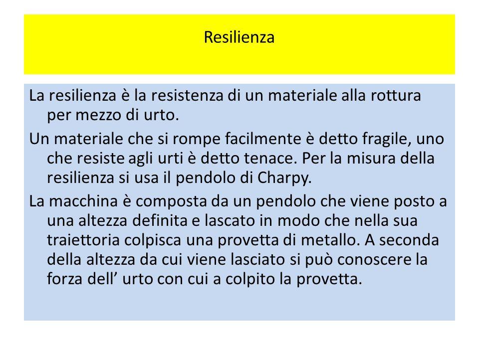 Resilienza La resilienza è la resistenza di un materiale alla rottura per mezzo di urto.