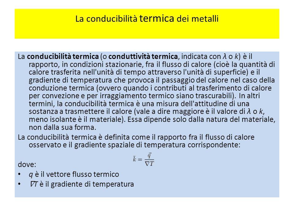 La conducibilità termica dei metalli La conducibilità termica (o conduttività termica, indicata con λ o k) è il rapporto, in condizioni stazionarie, fra il flusso di calore (cioè la quantità di calore trasferita nell unità di tempo attraverso l unità di superficie) e il gradiente di temperatura che provoca il passaggio del calore nel caso della conduzione termica (ovvero quando i contributi al trasferimento di calore per convezione e per irraggiamento termico siano trascurabili).