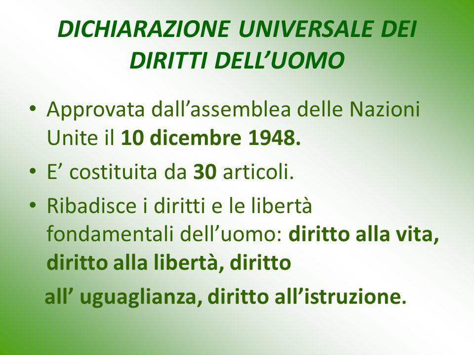 DICHIARAZIONE UNIVERSALE DEI DIRITTI DELL'UOMO Approvata dall'assemblea delle Nazioni Unite il 10 dicembre 1948.