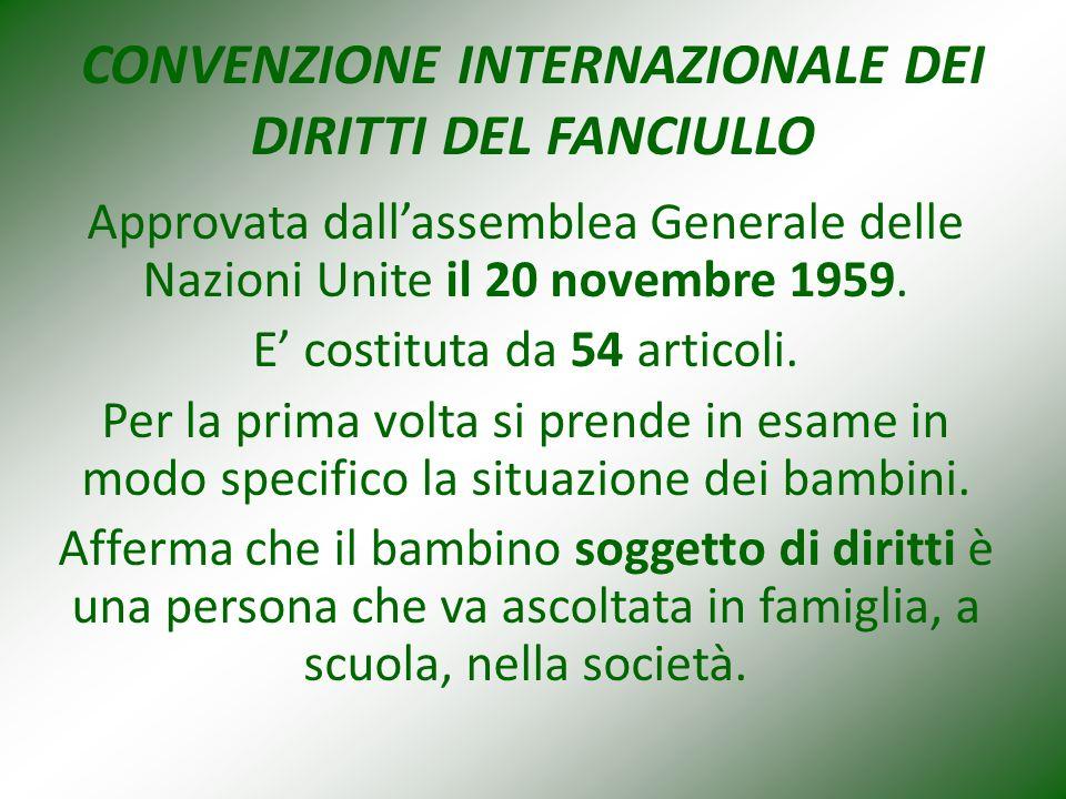 CONVENZIONE INTERNAZIONALE DEI DIRITTI DEL FANCIULLO Approvata dall'assemblea Generale delle Nazioni Unite il 20 novembre 1959.