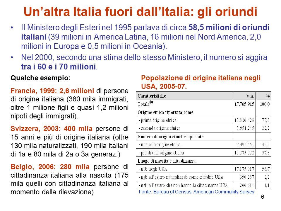 7 Gli stranieri in Italia: una crescita eccezionale Stranieri residenti distinti per sesso.