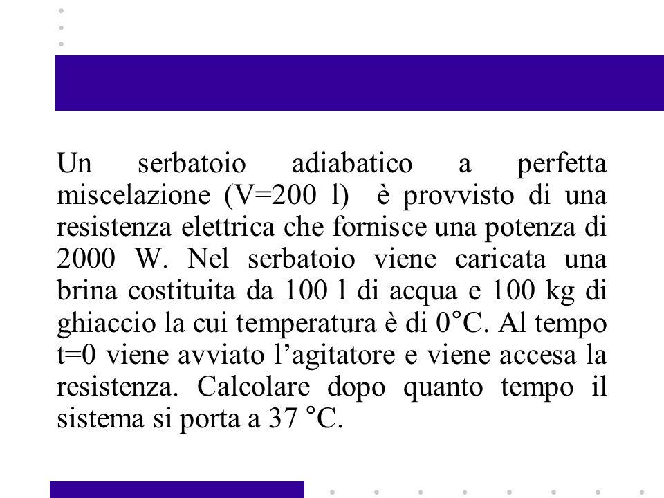 Un serbatoio adiabatico a perfetta miscelazione (V=200 l) è provvisto di una resistenza elettrica che fornisce una potenza di 2000 W.