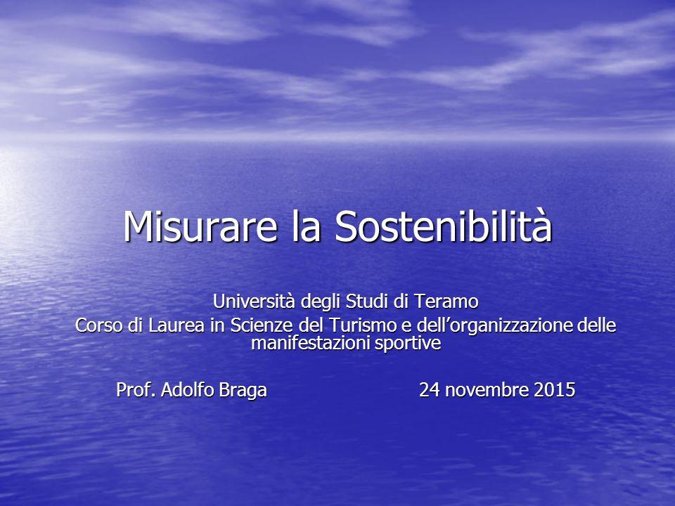 Misurare la Sostenibilità Università degli Studi di Teramo Corso di Laurea in Scienze del Turismo e dell'organizzazione delle manifestazioni sportive Prof.