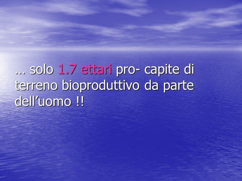 … solo 1.7 ettari pro- capite di terreno bioproduttivo da parte dell'uomo !!