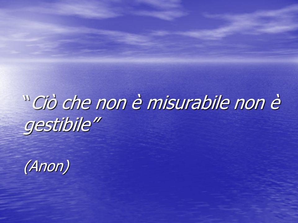 Ciò che non è misurabile non è gestibile (Anon)