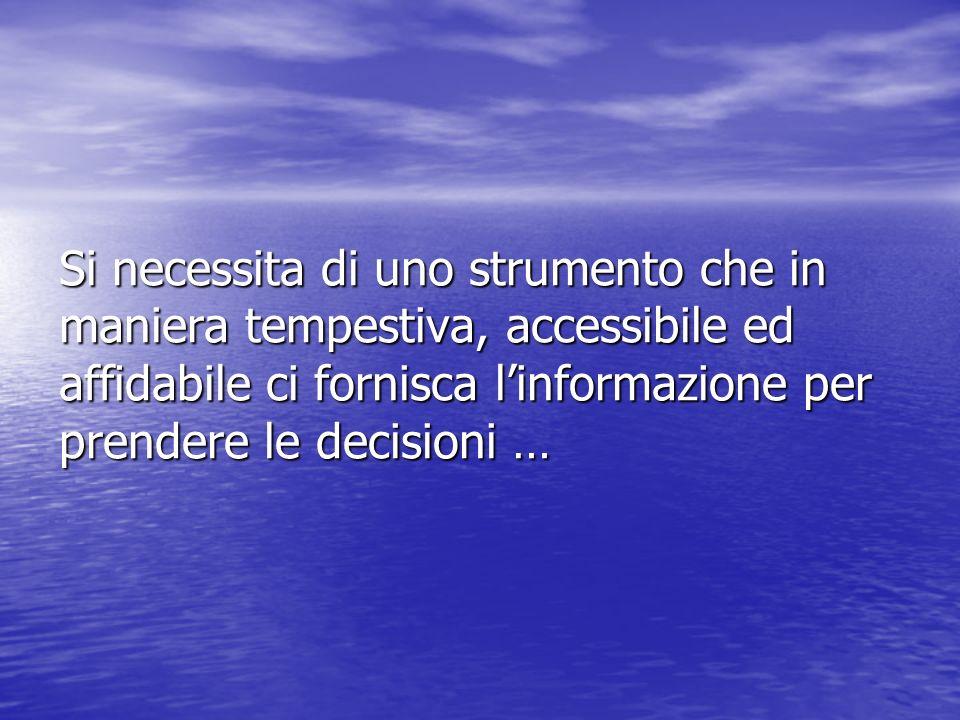 Si necessita di uno strumento che in maniera tempestiva, accessibile ed affidabile ci fornisca l'informazione per prendere le decisioni …