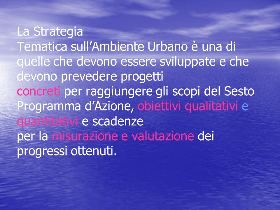 La Strategia Tematica sull'Ambiente Urbano è una di quelle che devono essere sviluppate e che devono prevedere progetti concreti per raggiungere gli scopi del Sesto Programma d'Azione, obiettivi qualitativi e quantitativi e scadenze per la misurazione e valutazione dei progressi ottenuti.