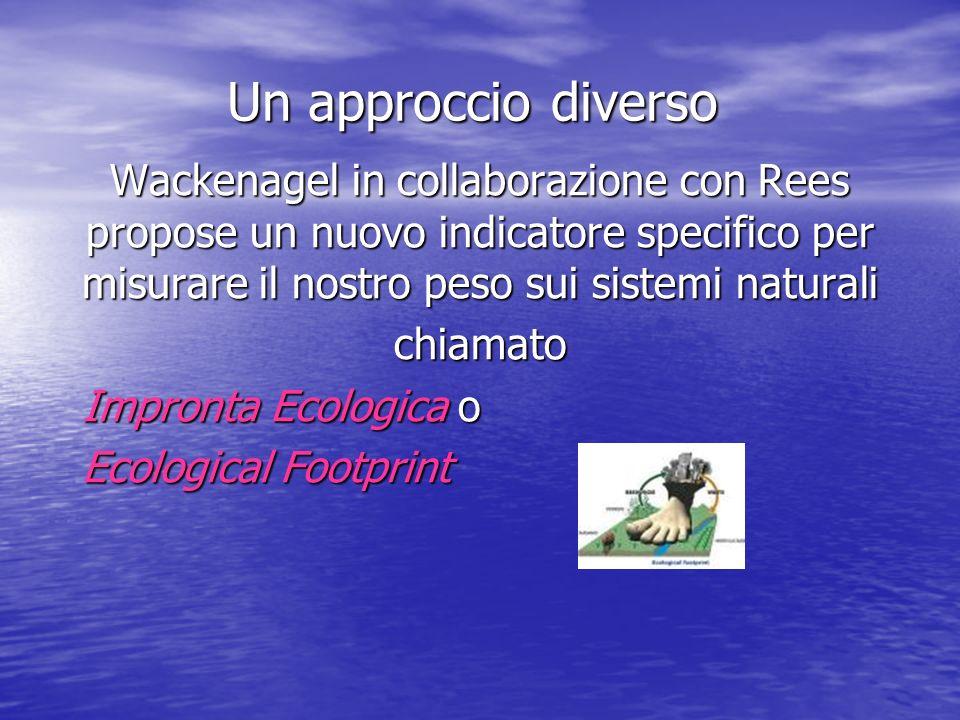 Un approccio diverso Wackenagel in collaborazione con Rees propose un nuovo indicatore specifico per misurare il nostro peso sui sistemi naturali chiamato Impronta Ecologica o Ecological Footprint