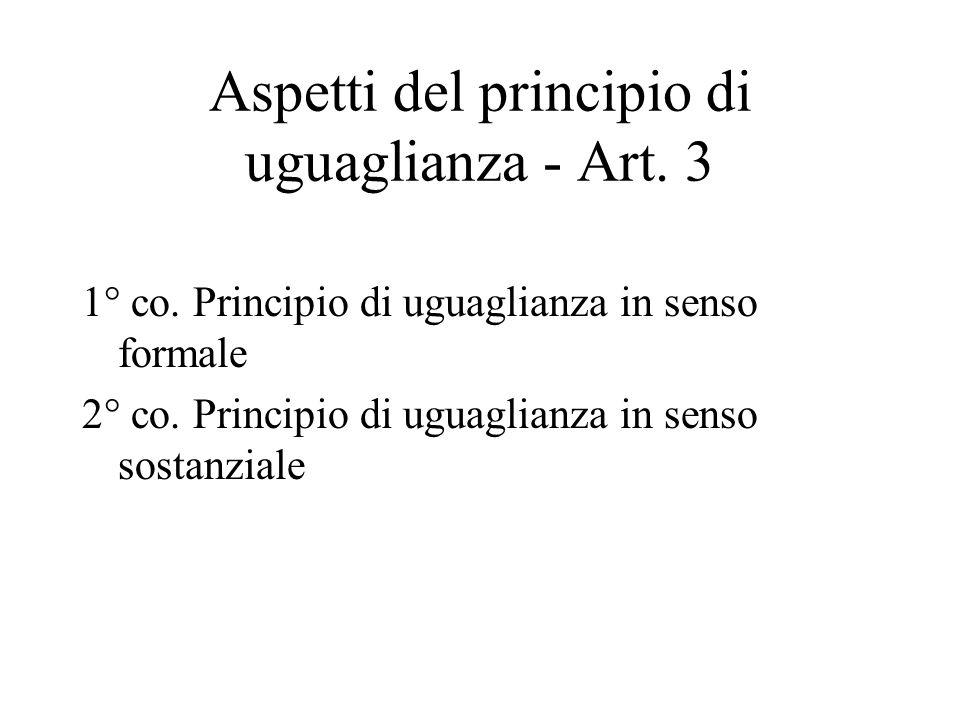 Aspetti del principio di uguaglianza - Art. 3 1° co.