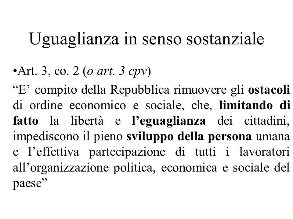 Uguaglianza in senso sostanziale Art. 3, co. 2 (o art.