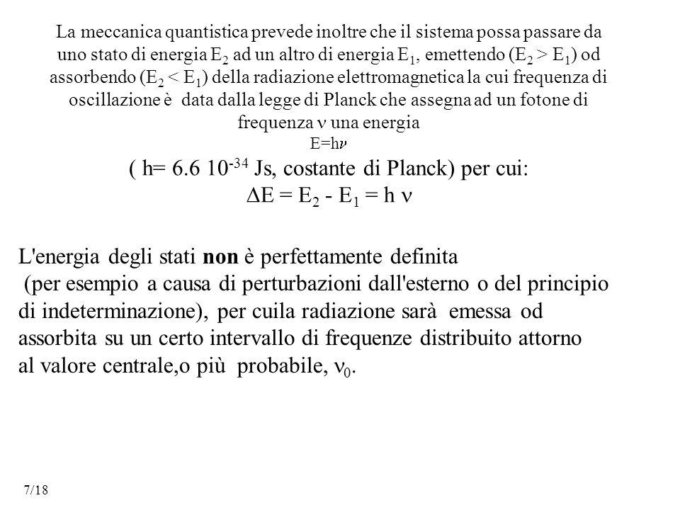 La meccanica quantistica prevede inoltre che il sistema possa passare da uno stato di energia E 2 ad un altro di energia E 1, emettendo (E 2 > E 1 ) od assorbendo (E 2 < E 1 ) della radiazione elettromagnetica la cui frequenza di oscillazione è data dalla legge di Planck che assegna ad un fotone di frequenza una energia E=h ( h= 6.6 10 -34 Js, costante di Planck) per cui:  E = E 2 - E 1 = h L energia degli stati non è perfettamente definita (per esempio a causa di perturbazioni dall esterno o del principio di indeterminazione), per cuila radiazione sarà emessa od assorbita su un certo intervallo di frequenze distribuito attorno al valore centrale,o più probabile, .