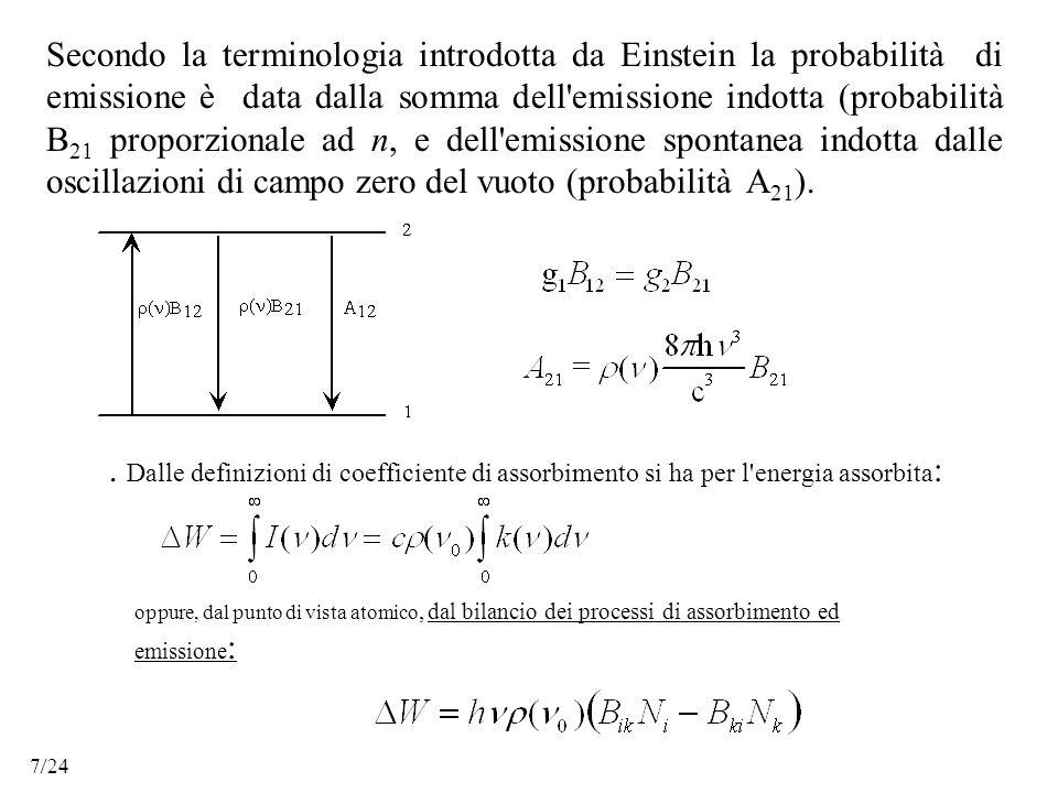 Secondo la terminologia introdotta da Einstein la probabilità di emissione è data dalla somma dell emissione indotta (probabilità B 21 proporzionale ad n, e dell emissione spontanea indotta dalle oscillazioni di campo zero del vuoto (probabilità A 21 )..