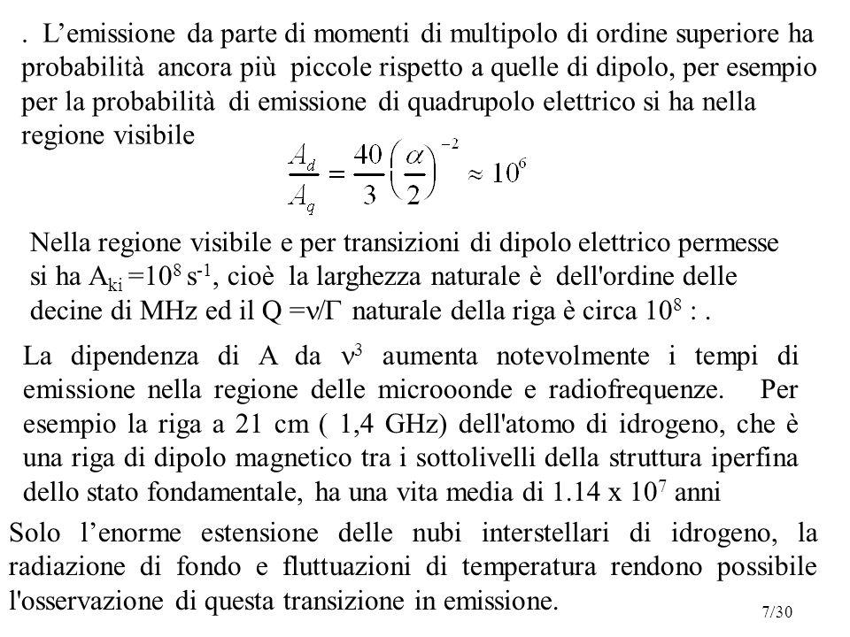 L'emissione da parte di momenti di multipolo di ordine superiore ha probabilità ancora più piccole rispetto a quelle di dipolo, per esempio per la probabilità di emissione di quadrupolo elettrico si ha nella regione visibile Nella regione visibile e per transizioni di dipolo elettrico permesse si ha A ki =10 8 s -1, cioè la larghezza naturale è dell ordine delle decine di MHz ed il Q =  naturale della riga è circa 10 8 :.