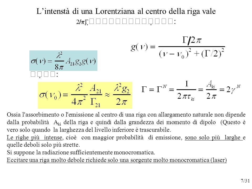 L'intenstà di una Lorentziana al centro della riga vale      :    : Ossia l assorbimento o l emissione al centro di una riga con allargamento naturale non dipende dalla probabilità A ki della riga e quindi dalla grandezza dei momento di dipolo (Questo è vero solo quando la larghezza del livello inferiore è trascurabile.