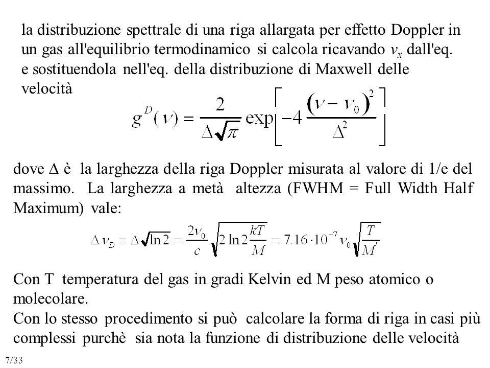 la distribuzione spettrale di una riga allargata per effetto Doppler in un gas all equilibrio termodinamico si calcola ricavando v x dall eq.